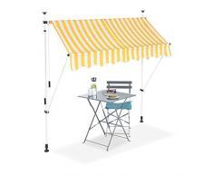 Relaxdays, Amarillo y Blanco, Toldo de Vela, Protección Solar, Retráctil, Sin Taladro, Ajustable, 200 cm, 200 x 120 cm