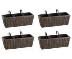 Weles GMBH Jardinera para balcón de polyrattan Incluye suspensión y 3 Insertos plásticos, Color Capuchino, 4 Piezas, 47 x 17 x 15 cm