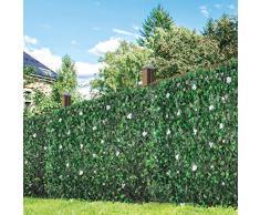 GardenKraft 26150 2.6 m x 0.7 m seto Artificial con Hojas de Flor y Hoja de peonía | Blindaje con Paneles, Verde