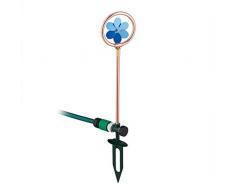 Relaxdays - Flor de riego, Juego de Agua, jardín, aspersor de césped, con estaca, 55,5 x 11 cm, Color Cobre y Azul