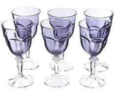 Sunvibes Juego de Copas, 8 x 18 cm 101841 Happy Copa de Vino 6 Piezas, 8, Color 8,8 x 18 cm, Azul Transparente/Gris, 8.8x8.8x18 cm