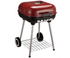 Outsunny - Barbacoa de carbón Vegetal BBQ con Tapa y Ruedas, 45 x 47,5 x 70 cm