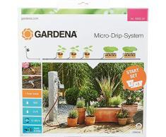 Gardena 13002-20 Set de Inicio M automático, el práctico Sistema Goteo Micro-Drip con Programador de riego para 7 macetas y 3 tinajas, Terracotta