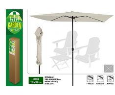 Aktive Garden Parasol Rectangular para Balcón con Mástil de Aluminio de 38 mm, Blanco Roto, 1.2 x 2 m