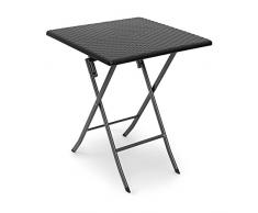 Relaxdays - Mesa de jardin plegable BASTIAN, mesa auxiliar, acampar, balcon, cuadrada, color negro