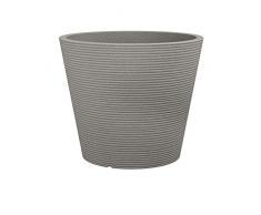 Scheurich Coneo, jardinera de plástico, granito topo, 30 cm de diámetro, 24.3 cm de alto, 10 l vol.