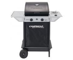 Campingaz Xpert 100 LS Plus Rocky Barbacoa Gas para Piedra Volcanica, BBQ gas con 2 quemadores, 7.1kW de potencia, 2 Parrillas de acero cromado, 2 mesas laterales y rocas de lava