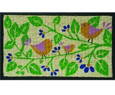 Tildenet – dmrc03 75 x 45 x 1,5 cm), diseño de pájaros sobre una rama Impreso alfombrilla de fibra de coco, multicolor (1)