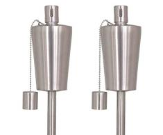 Siena Garden lámpara de Aceite Set Dana, 2 Piezas, Acero Inoxidable, diámetro 7,4 x 115 cm, Plata