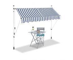 Relaxdays, Azul y Blanco, Toldo de Vela, Protección Solar, Retráctil, Sin Taladro, Ajustable, 250 cm, 250 x 120 cm