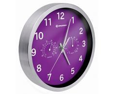 Bresser MyTime Thermo-/ Hygro Reloj de Pared, Morado, 25 x 25 x 4.6 cm