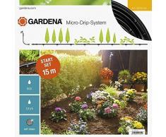 Gardena 13010-20 Set de Inicio para hileras S: Sistema jardín Micro-Drip para un riego Que Ahorra Agua y Protege Las plantaciones en Fila, Negro