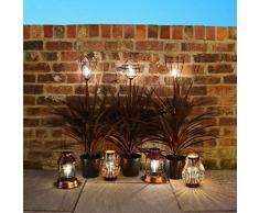 Festive Lights - Estaca de jardín con luz Solar LED para Exteriores, iluminación Retro (Bombilla), Color Negro