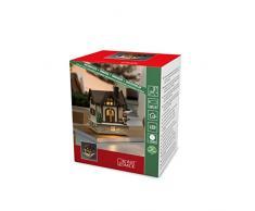 Konstsmide 3230-100 - Caseta de Madera LED con Techo de Color marrón para Uso en Interiores (IP20)/4 diodos de luz Blanca cálida/Funciona con Pilas: 3 x AA 1,5 V (sin incluir el Cable)