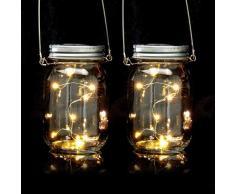 Relaxdays Set de Dos lámparas solares, 8 Leds por Farol, De pie o Colgante, Iluminación para jardín, Transparente