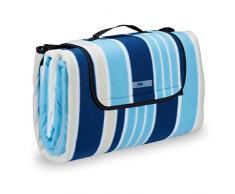 Relaxdays pícnic XXL, Manta para Playa, Plegable, con asa, con Rayas, Azul y Blanco, 200x200 cm