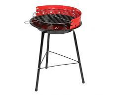 Ldk Garden Barbacoa de carbón y Estructura de Acero roja, Rojo-Negro, 34x12x55 cm