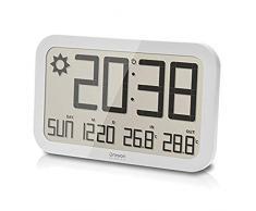 Oregon Scientific JW108 - Reloj de Pared Inalámbrica con Pronóstico del Tiempo, Termómetro y Sensor remoto en color Blanco