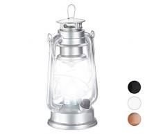 Relaxdays, Plateado Farol LED, Lámpara Vintage Decorativa, A Pilas
