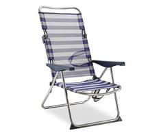 Solenny 50001072725175 - Silla Playera-Cama Alta 4 Posiciones con Asas con Estabilizadores Azul y Blanco