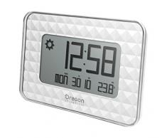Oregon Scientific JW208_W - Reloj de Pared Digital GLAZE con termómetro y calendario, blanco