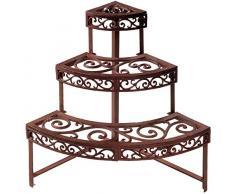 Esschert Design - Estante esquinero para Flores (Hierro Fundido), Color Rojizo, marrón, BPH32