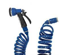 Tatay 0058001 Kit con Manguera de Jardín Espiral de 15 m y Pistola Soft Touch 7 Posiciones, Azul