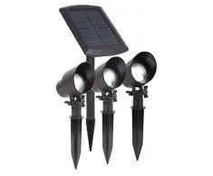 Maximus gl009bp3 m 3 x LED Solar Foco en el Paquete con Panel Solar Externo, 15 Lúmenes por Foco y estacas