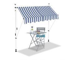 Relaxdays, Azul y Blanco, Toldo de Vela, Protección Solar, Retráctil, Sin Taladro, Ajustable, 200 cm, 200 x 120 cm
