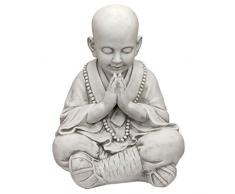 Design Toscano Praying Baby Buddha Asian Garden Estatua, Plata, 34.5x39.5x52 cm
