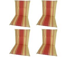 BEO 4-er A101 Barcelona NL - Funda de espuma para silla baja reclinable, aproximadamente 48 x 98 cm x 5 cm, amarillo-rojo