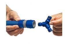 Tatay 0000701 Conector para Manguera Derivación Triple, Empalme Rápido para Riego de Jardín y Anti UVA, Azul