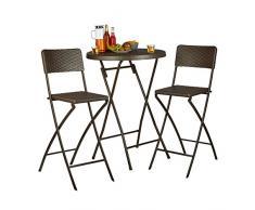 Relaxdays Taburetes de Bar Plegables Bastian, Aspecto de ratán, Respaldo de sillas, Plegables, 78 cm de Alto, Altura de encimera, Color marrón