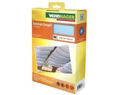 Windhager Toldo Vela de protección Solar tecnología de tensado de Cuerdas 270 x 140 cm, Ideal para pérgola o Invernadero, Azul Cian, 10881, Triste