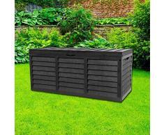 Gr8 Garden Plástico Negro Caja Almacenamiento Tapa Patio Caseta Utilidad Cojín Pecho Madera Valla Panel Efecto Grande Camión Interior Mueble Exterior