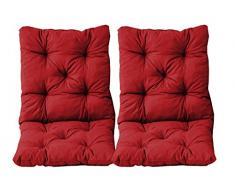 Ambientehome - Juego de 2 Cojines y respaldos para Silla Hanko, Aprox. 50 x 98 x 8 cm, Cojines Acolchados, Rojo