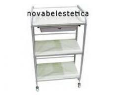 Novabel Carro blanco con 3 estantes de madera y cajón pq