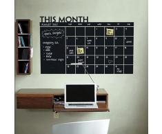 Pizarra de vinilo adhesivo calendario con 5 tizas 92x60 cm