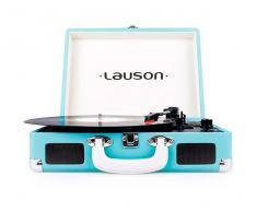 Lauson cl604 azul tocadiscos vintage maletín con bluetooth y función grabador de vinilo a usb en mp3 lector sd 3 velcoidades