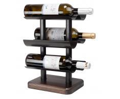 Botellero de sobremesa madera y metal (24x20x35cm)
