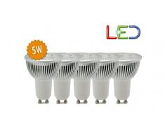 Pack de 5 bombillas LED GU10C-45 5W blanco frío