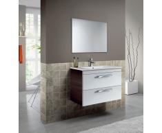 Mueble para lavabo suspendido con 1 puerta abatible + 1 cajón y un espejo