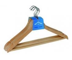 Wenko Lote de perchas madera natural con forma y puente 45 cm