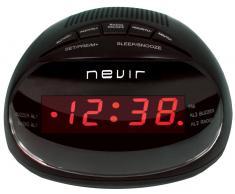 RADIO RELOJ NEVIR NVR333DD NEGRO DOBLE ALARMA