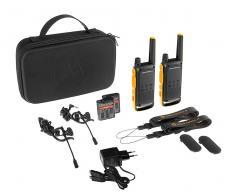 Motorola t82 extreme negro amarillo pareja walkie talkies 10km resistencia ipx4 linterna led 16 canales 121 códigos de privaci