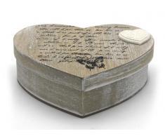 Caja corazón en color madera natural Home 18,5x17,5x7,8cm