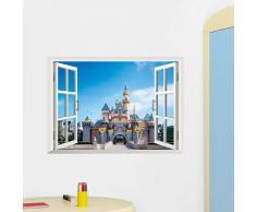 Vinilo Ventana con castillo 3D