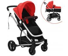 Cochecito y silla de bebé 2 en 1 Aluminio Rojo y negro