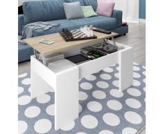 Mesa de centro con tapa elevable y espacio de almacenamiento Blanco y Roble