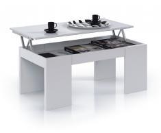 Mesa de diseño elevable para tu salón en blanco brillo